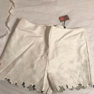 Leather flower shorts